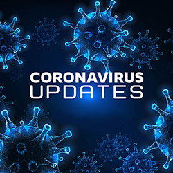 Corona Virus Updates header with depicted on background of magnified virus cells