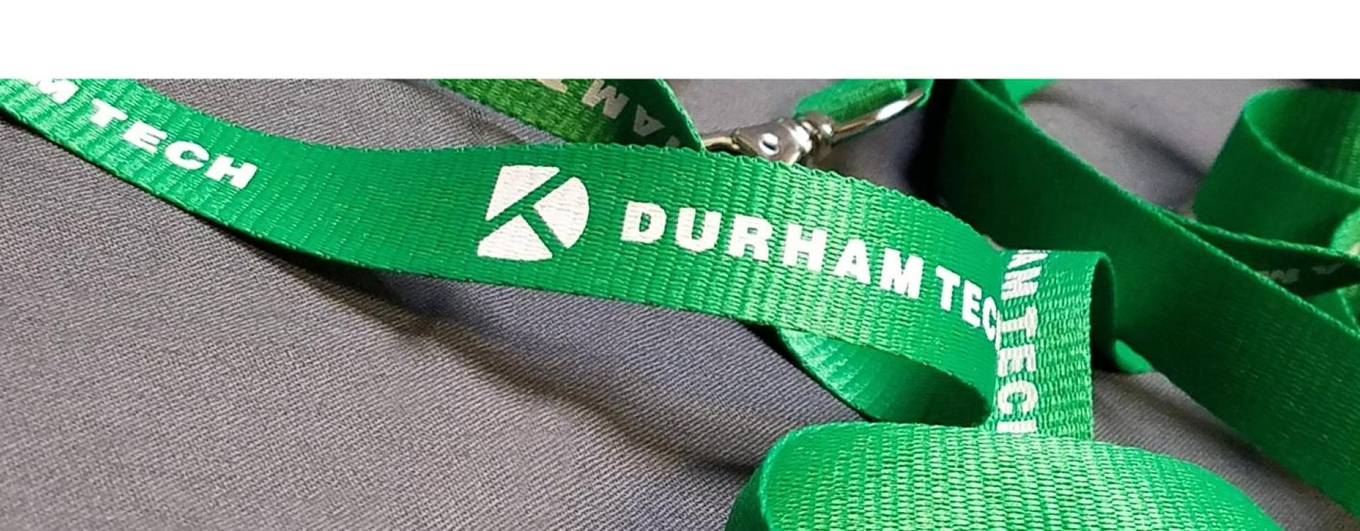 lanyard with Durham Tech printed on it